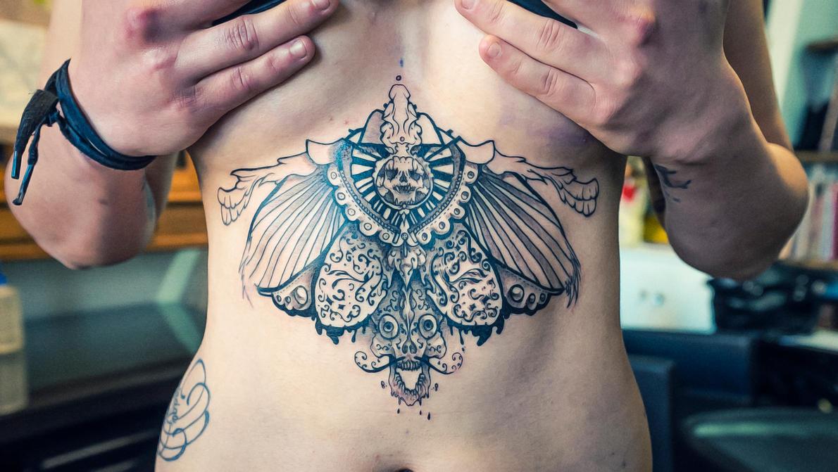 skull tattoo wings 6 b...