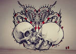 neck skull tattoo
