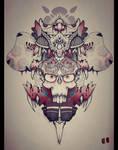 skull mask tattoo flower