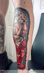 tattoo calf mucha by RemiisMeltingDots