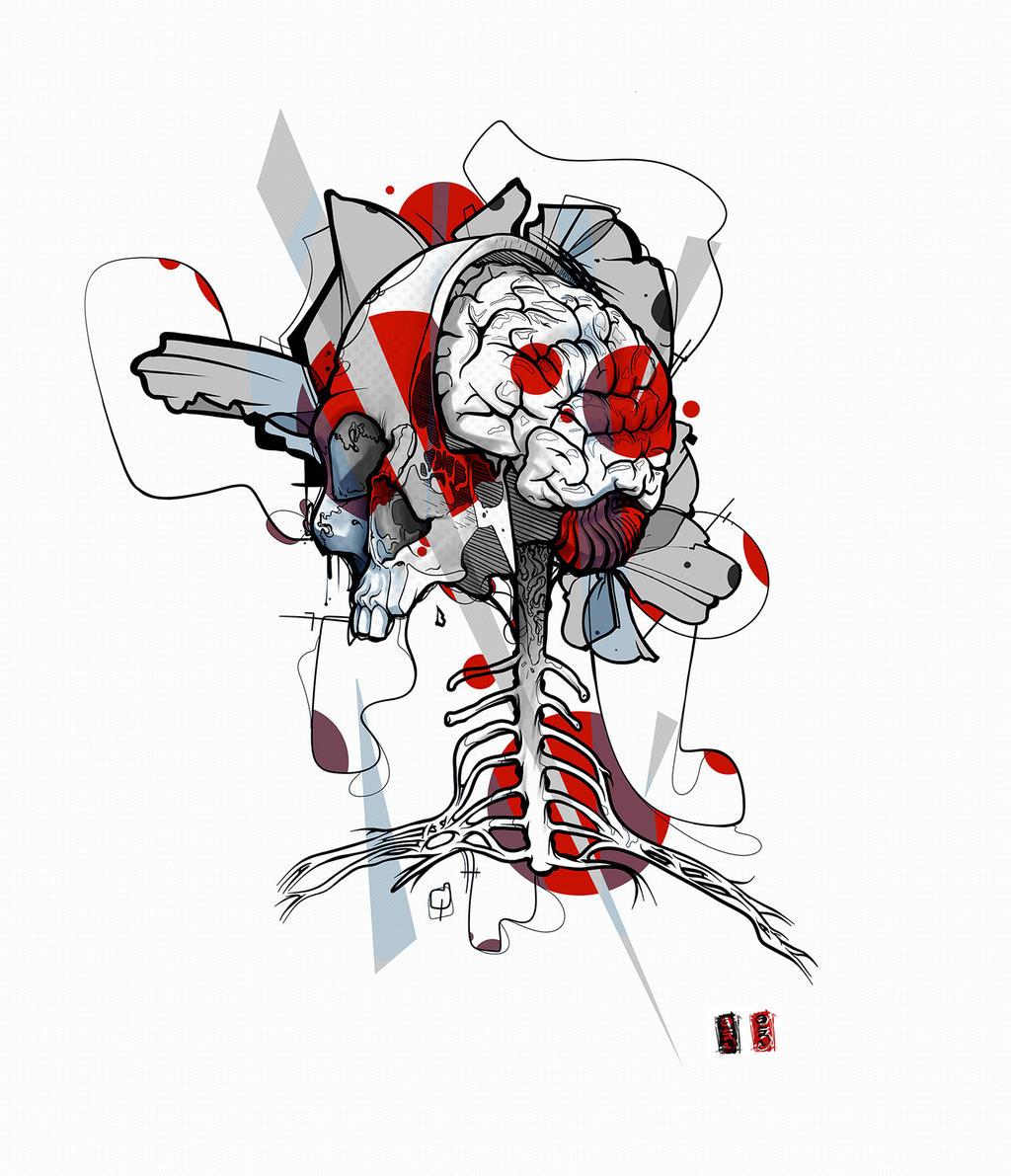 skull brain tattoo design