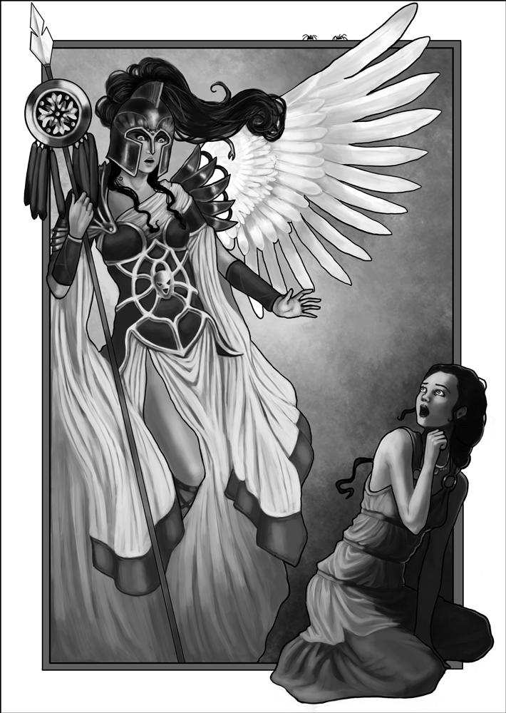 Athena Greek Mythology Drawing Arachne Athena's Wrath