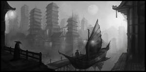 Asian City by DrawingNightmare