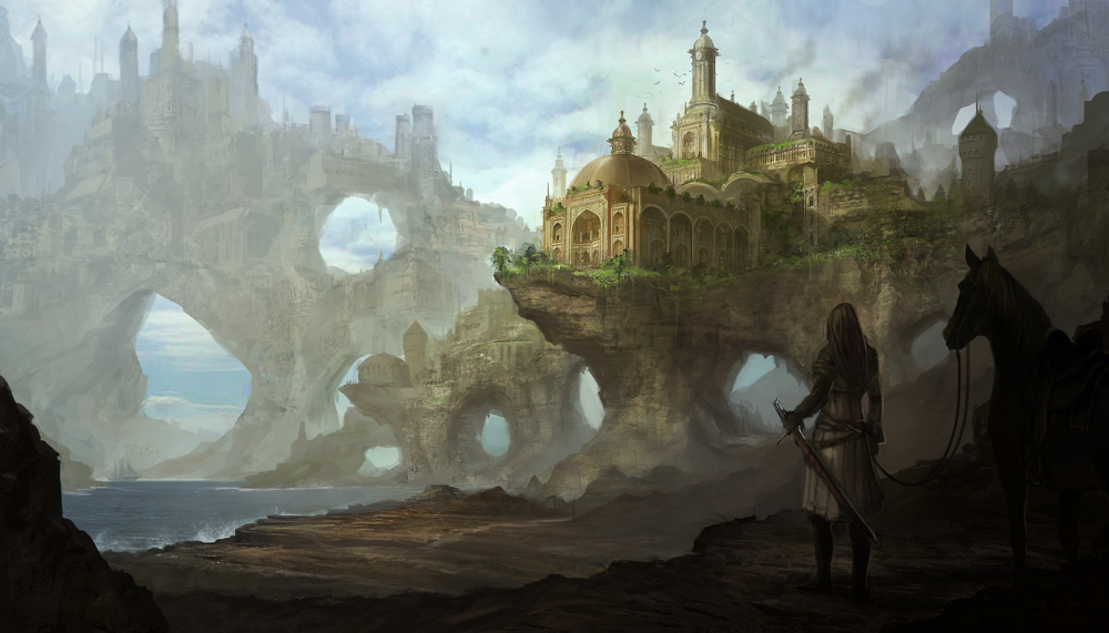 Les Mondes Imaginaires Kingdom_on_the_cliffs_by_drawingnightmare-d4kzvqj