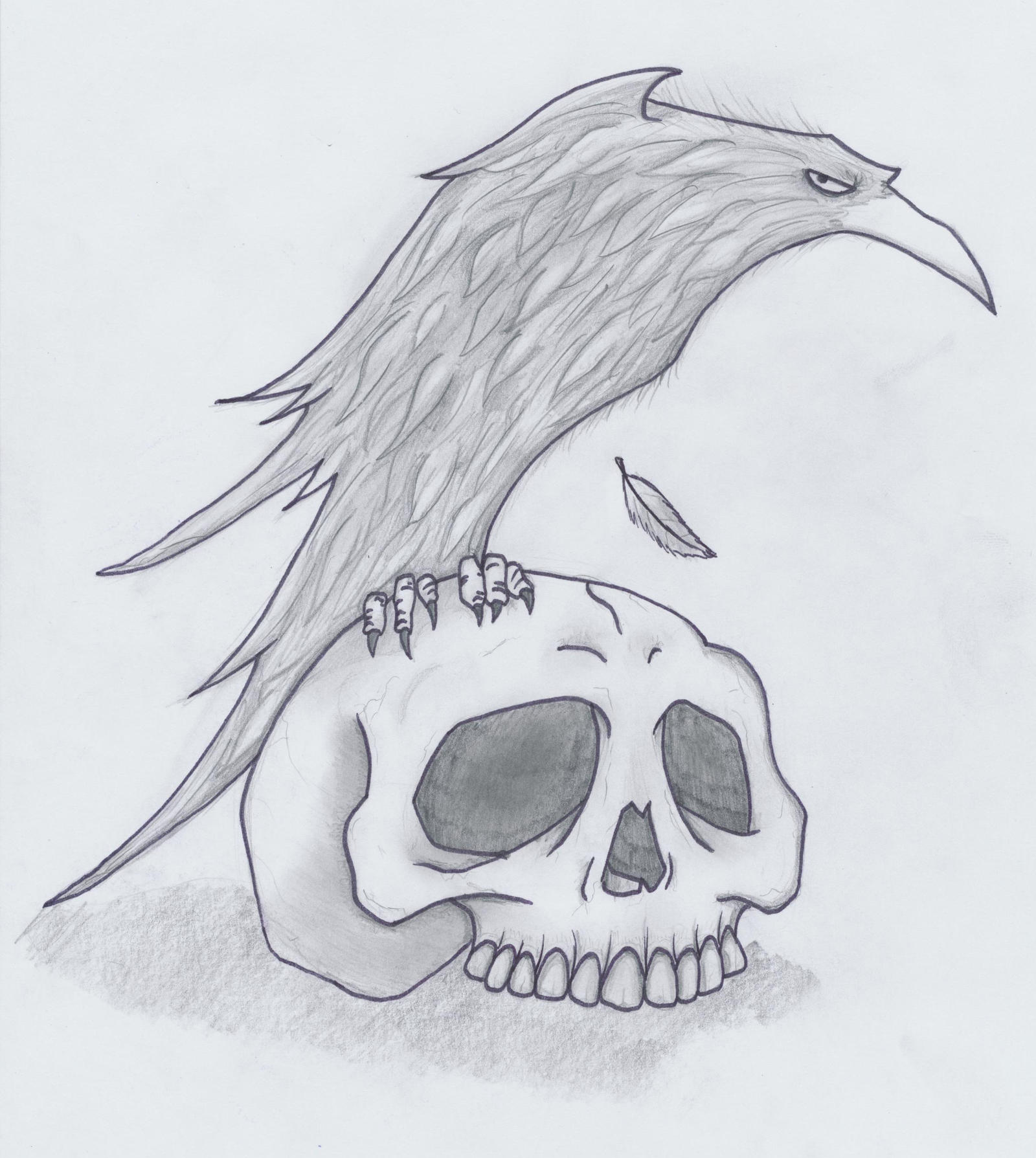 Skulls Tattoo Design Wallpaper: Raven Skull Tattoo Design By HellDemonDavey On DeviantArt