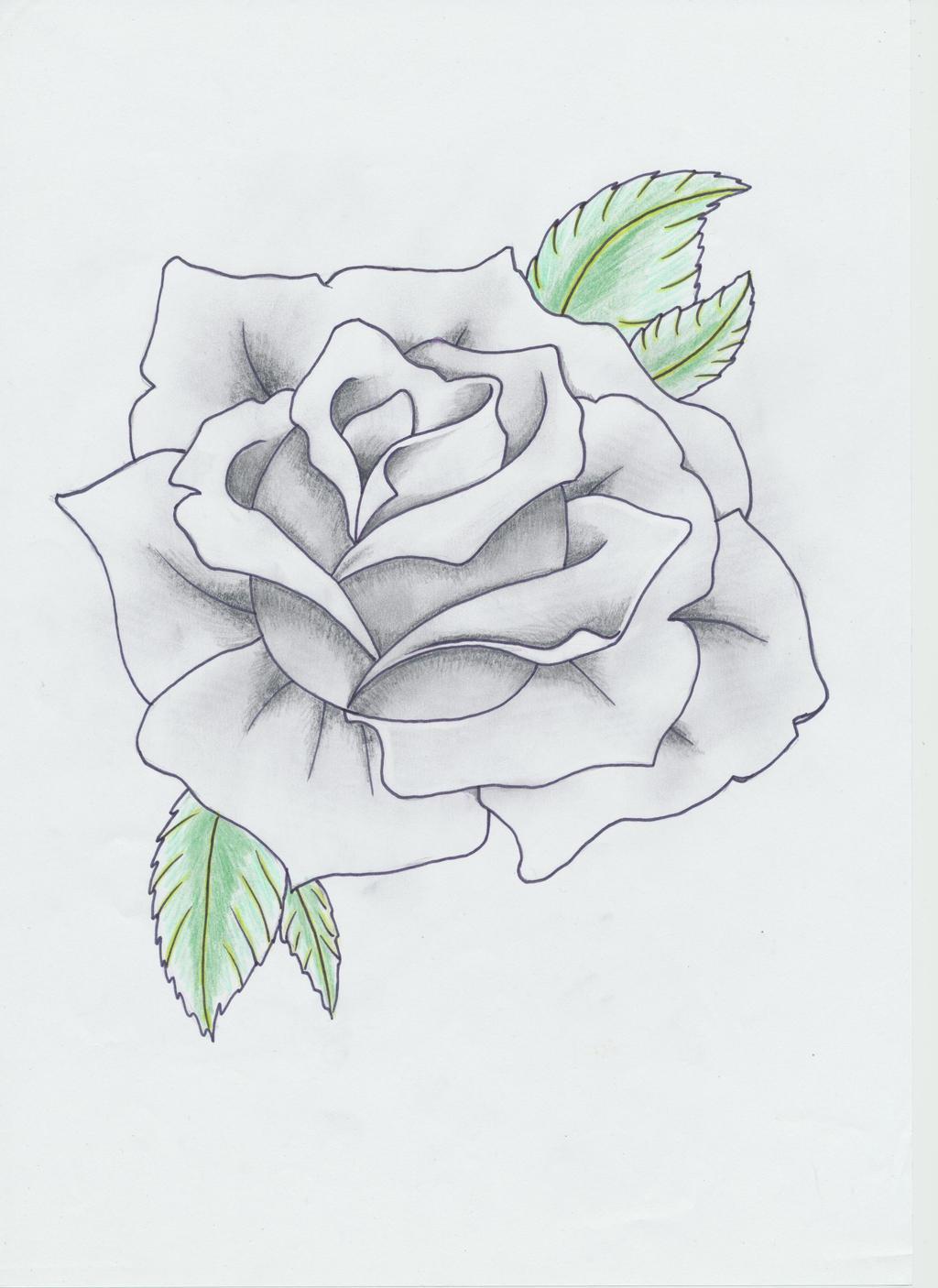 black and gray rose tattoo by helldemondavey on deviantart. Black Bedroom Furniture Sets. Home Design Ideas