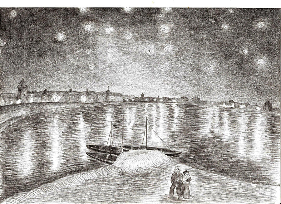 starry night over the rhone by Starry night over the rhone, 1888 by vincent van gogh is printed with premium  inks for brilliant color and then hand-stretched over museum quality stretcher.
