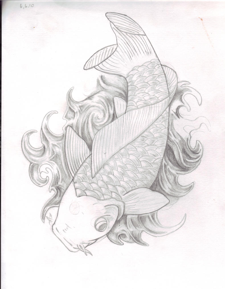 Koi fish tattoo sketch pictures to pin on pinterest for Koi fish sketch