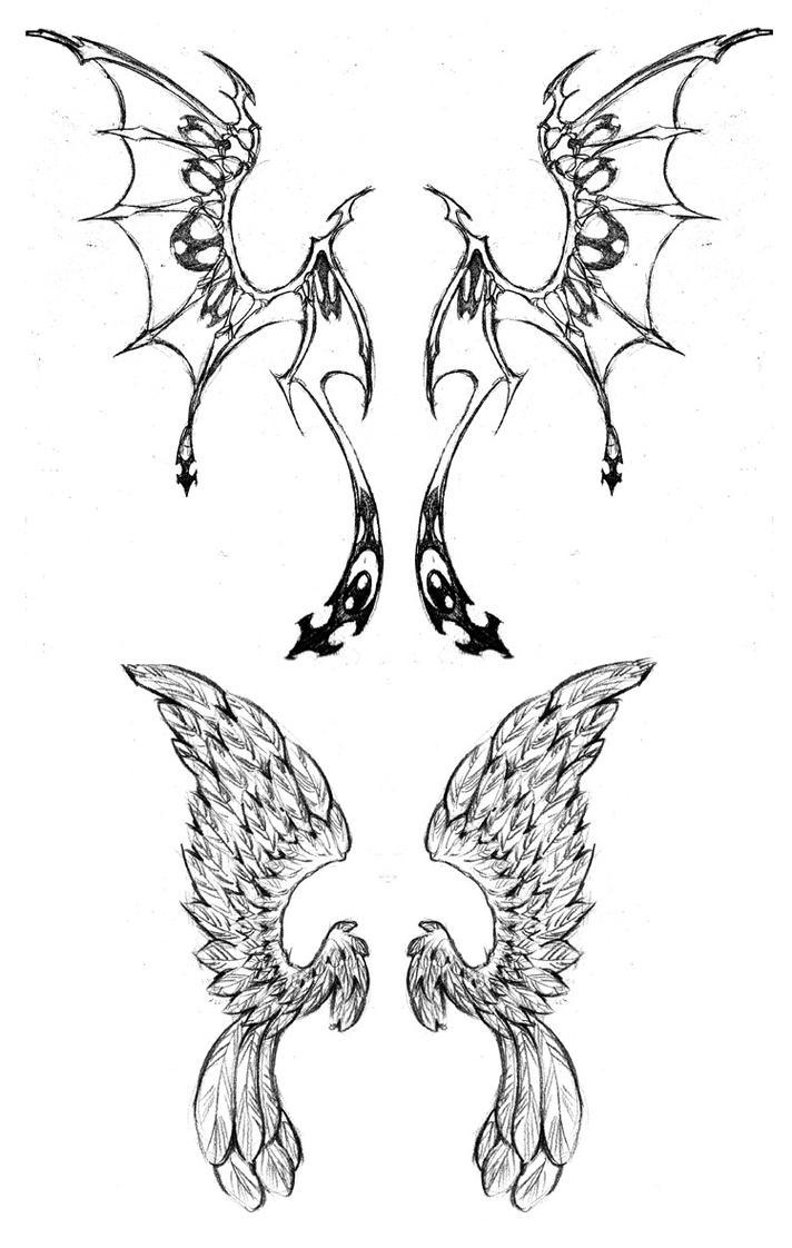 wing tattoo designs by westbaylen on deviantart. Black Bedroom Furniture Sets. Home Design Ideas
