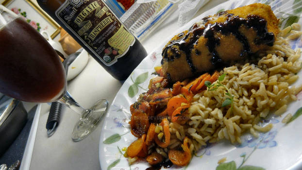 Chicken Cordon Bleu on Veggies and rice