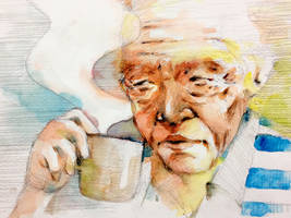 old man with coffee