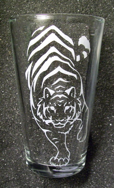 Tribal tiger pint glass by coventrydecor
