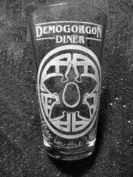 Stranger Things etched pint glass