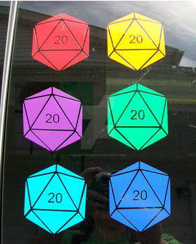D20 Vinyl Decal Stickers, 11 colors available