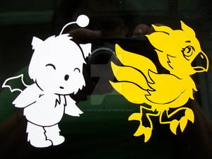Chocobo and Moogle vinyl decal stickers