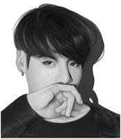 Black and white Jungkook by tinavrl