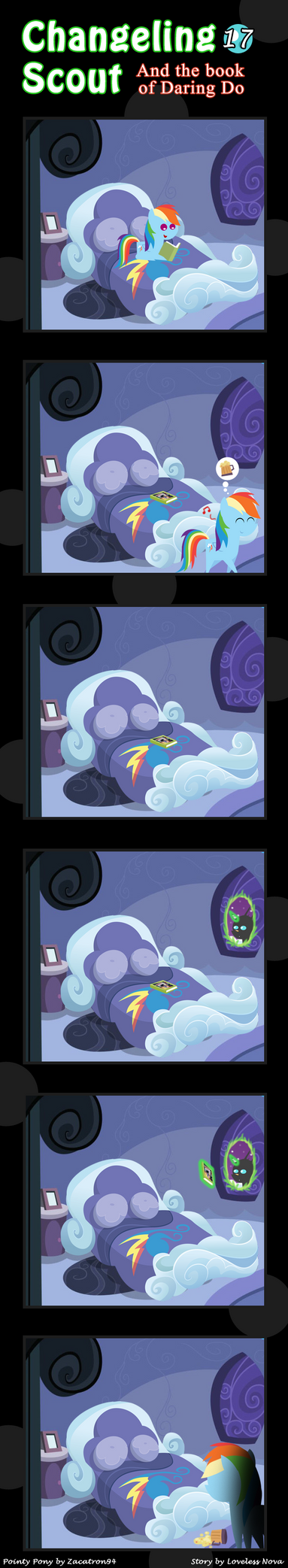 Changeling Scout And The Book Of Daring Do 17 by vavacung