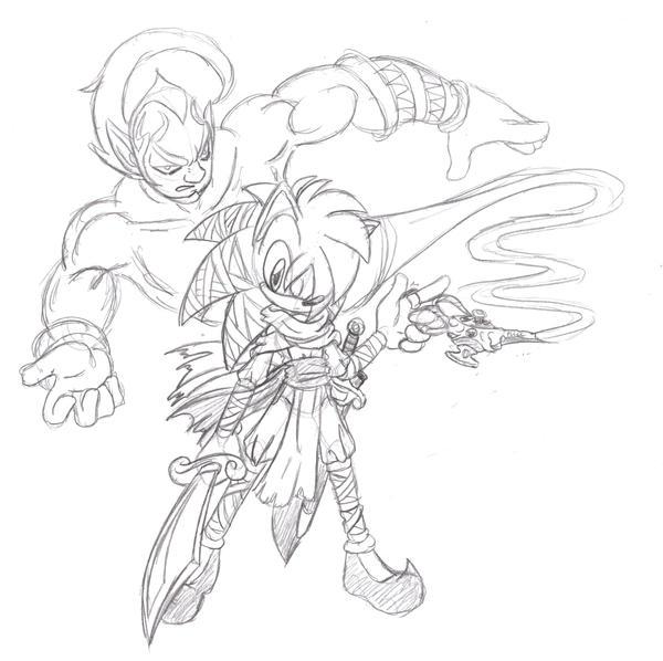 Aladdin and Erazor Djinn by Basic-Hedgehog