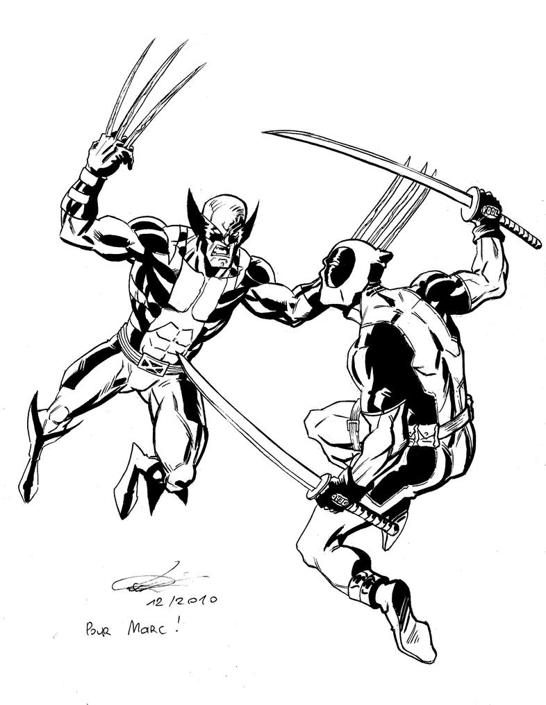 Wolverine vs deadpool by e v4ne on deviantart for Wolverine coloring pages free