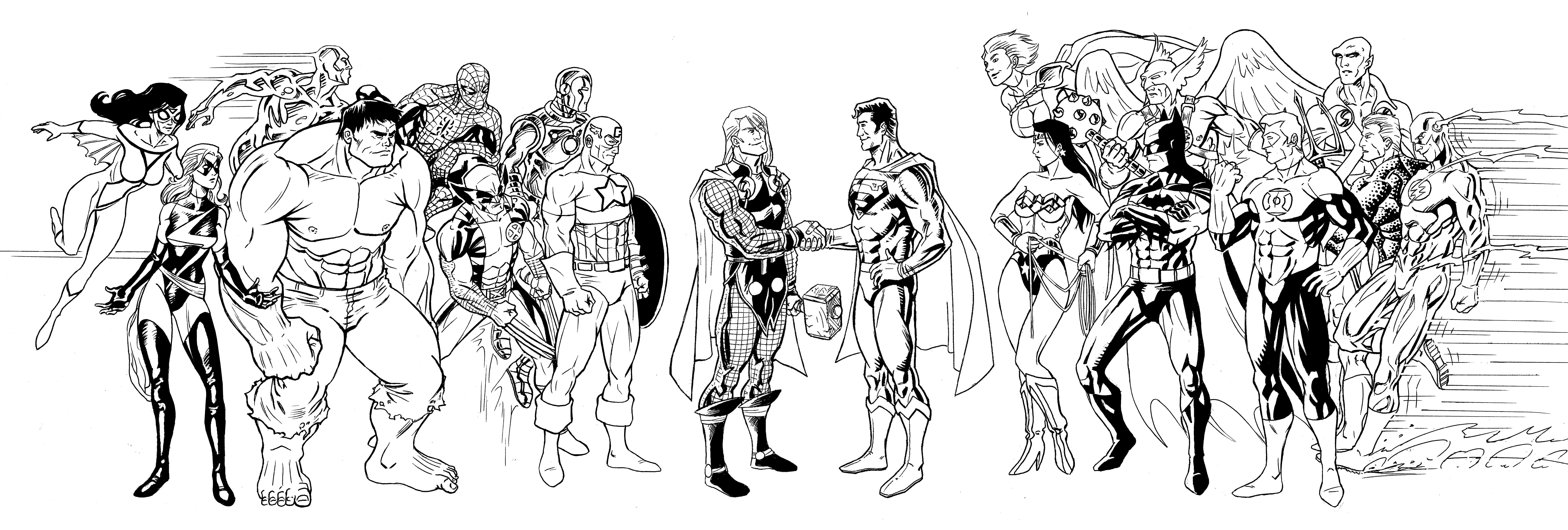 Avengers Team Coloring Pages : Justice league avengers by e v ne on deviantart