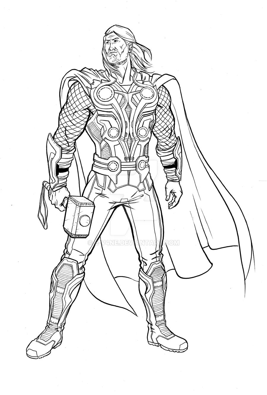 Mighty Avengers Coloring Pages : Thor thursday the mighty avenger by e v ne on deviantart