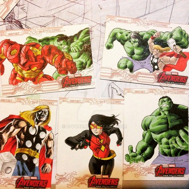 Avengers Age of Ultron Sketchcards WIP by Ericdimension