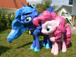 Luna and Pinkie papercrafts in the garden
