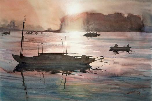 Ha Long Sunset, 38x56cm