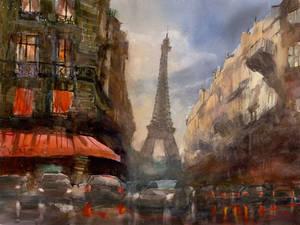 The Last Sunlight Over Paris, 47x63cm