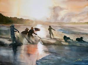 Vietnamese Fishermen, 56x76cm