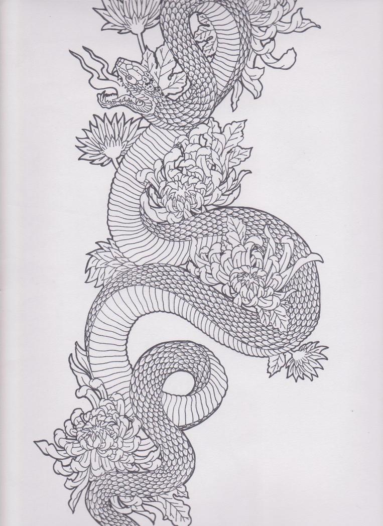 Water Transfer Fake Tattoo Sticker Sketch Rose Flower ... |Snake Tattoo Sketches