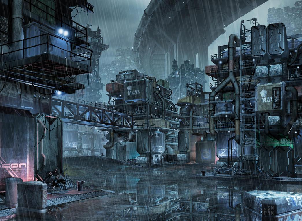 not too distant future slums by orangehexagon