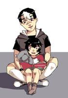 Shiro being a good babysitter by Cammeii