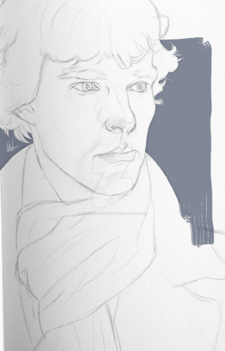 Sherlock / Traditional + Digital Sketch by theclumsyandshy