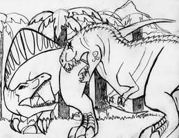 Spinosaurus vs. V. Rex by Rixshaw