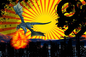 Dragon over city by darthsabe