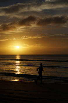 Running in sunrise