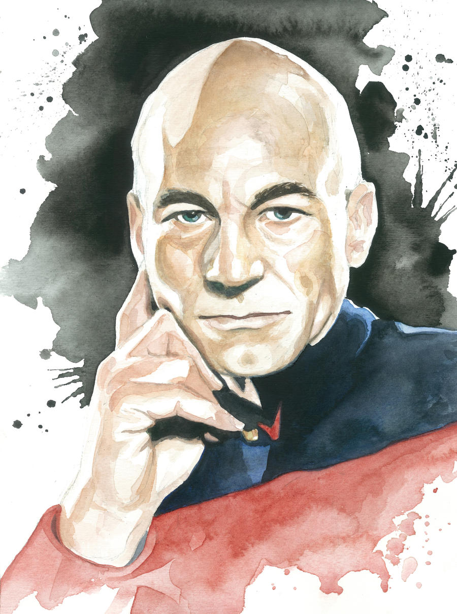 Star Trek TNG Watercolor: Capt. Jean Luc Picard