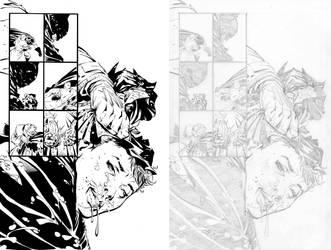 Dark Knight III #1, Pg. 27 (Comparison) by afowlerart