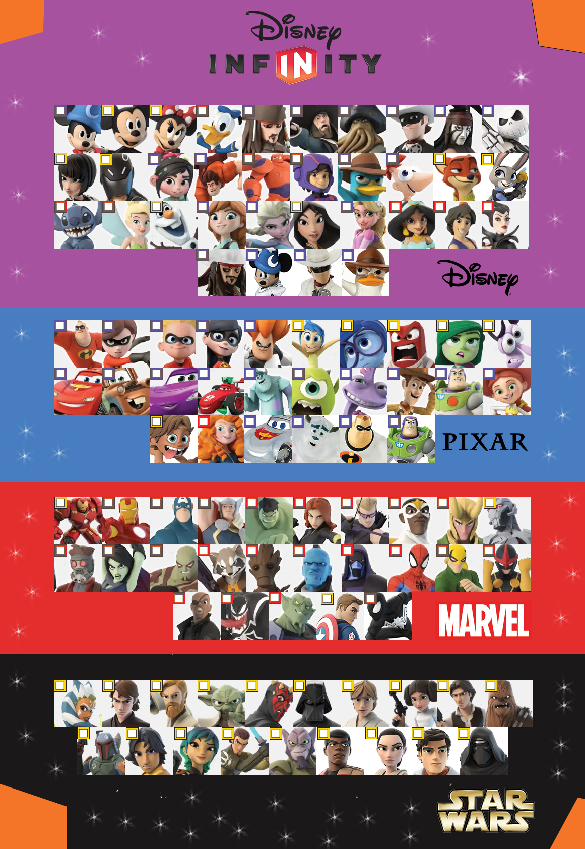 infinity 3 0 characters. disney infinity 3.0 character checklist version 2 by darkmudkip6 3 0 characters