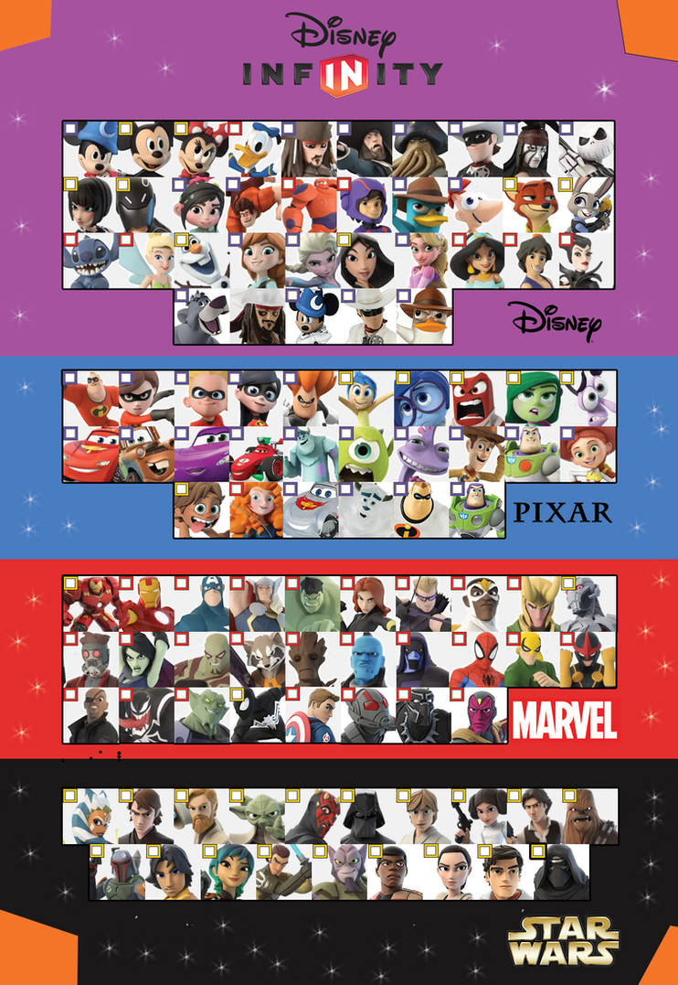 Disney Infinity 3.0 Character checklist Version 3 by