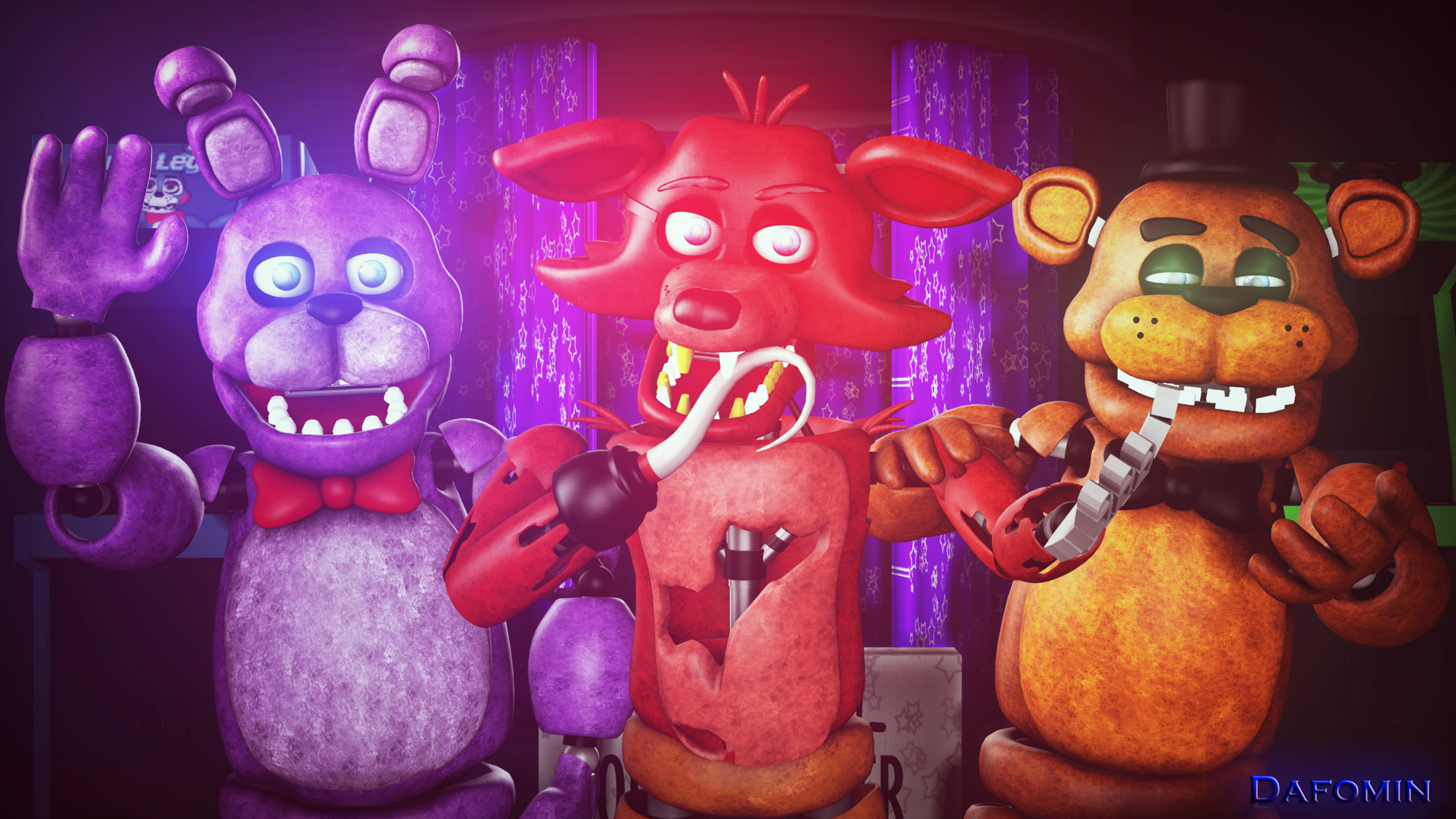 withered Foxy, Freddy, chica and bonnie by Dorad456 on