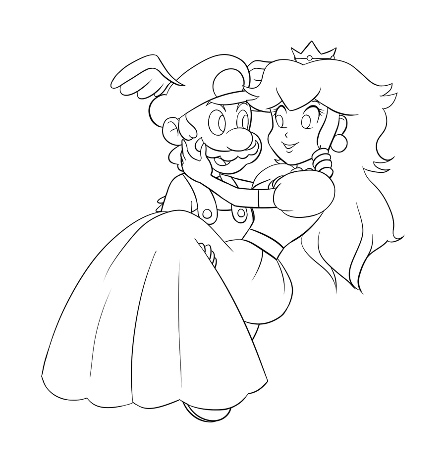 princess daisy coloring pages - mario and peach lines by smashsweetie on deviantart