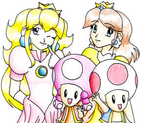 Peach, Daisy, Toad, n Toadette by smashsweetie