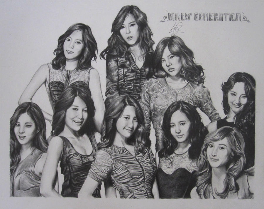 SNSD All 9 Group Drawing By HamstermeetsMudkip On DeviantArt