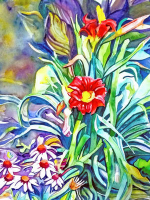Red Day Lilies in Afternoon Sun by kgemeni