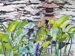 Stone Lantern in Japanese Pond by Amaryn-Philomena