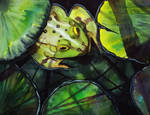 Green - Frog and Lilypads by Amaryn-Philomena