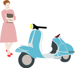 Girl standing next to a scooter