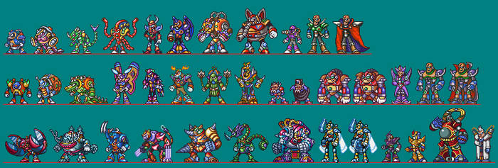 Mega Man X1-3 Mavericks Standing Sprites